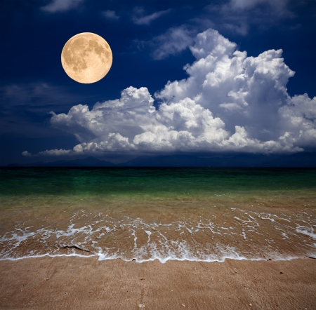 beach and moon Stock Photo - 9326261