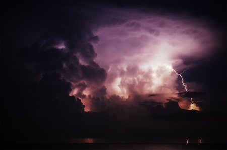 lightning above the sea photo