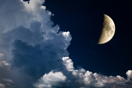 halve maan en nachtelijke hemel Stockfoto
