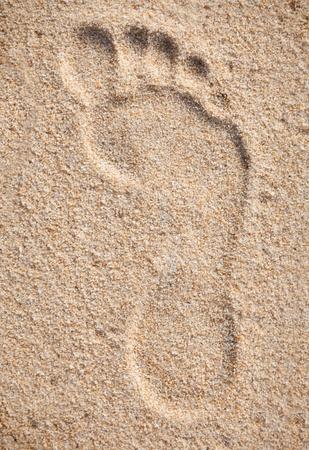 sea mark: Single footprint on sand beach Stock Photo