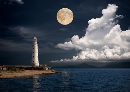 lighthouse at night: lighthouse at night
