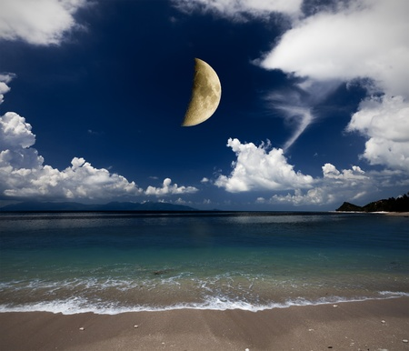 beach and moon photo