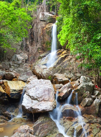 beautiful cascade waterfall, koh Samui, Thailand photo