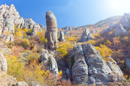 stratification: Autumn mountain. Ghost Valley, Demerdji, Crimea, Ukraine Stock Photo