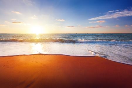 beach sunset: sunset and sea Stock Photo