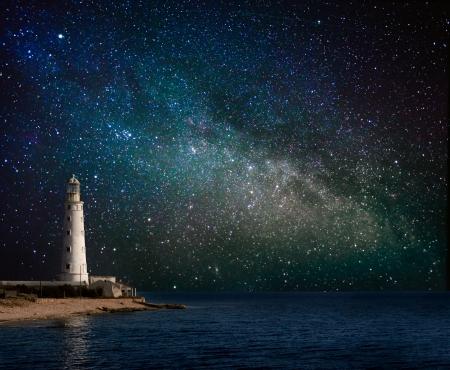 夜の灯台 写真素材