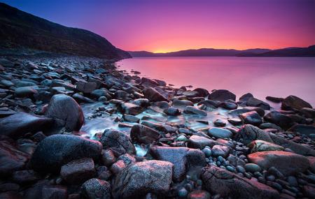 Sunset on the stone coast