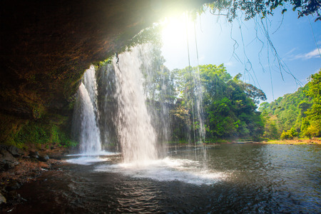 pee pee: Tat Cham Pee Waterfall, Bolaven plateau, Pakse, Laos Stock Photo