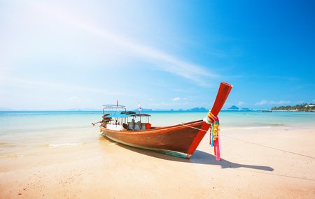 longtail: longtail boat and beautiful beach Stock Photo