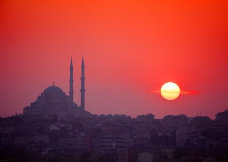 mosque: Sunset and Yavuz Selim mosque, Istanbul, Turkey Stock Photo