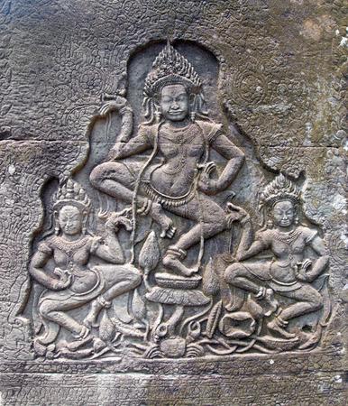 stone carvings: detail of stone carvings in angkor wat,cambodia.