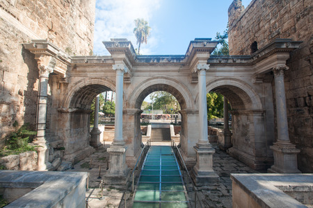 hadrian: Hadrians Gate in old city of Antalya Stock Photo