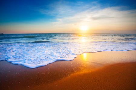 overcast: sunset and sea Stock Photo
