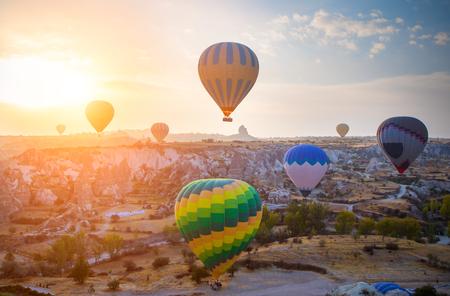 Hot air balloon flying over Cappadocia, Turkey