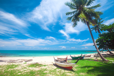 beach and fishing boat, koh Lanta, Thailand