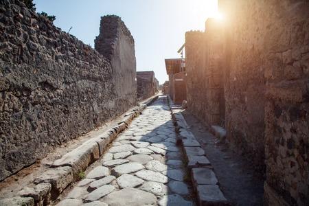 Street in Pompeii and Vesuvius, Italy Stock Photo