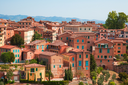Aerial view over city of Siena Stock Photo