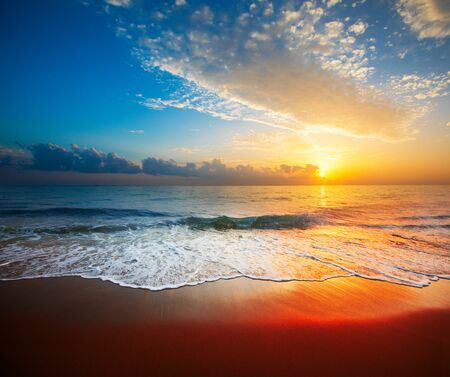 beautiful sunset and tropical sea Standard-Bild