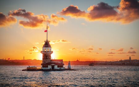 Maidens tower at sunset time- Istanbul, Turkey