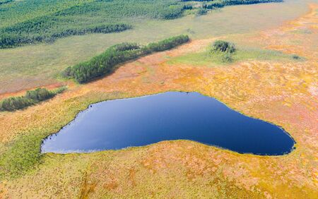 Beautiful Autumn Lake And Swamp Aerial View Stock Photo