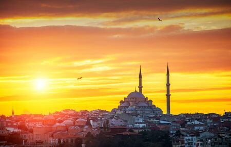 Sunset and Yavuz Selim mosque, Istanbul, Turkey Stock Photo