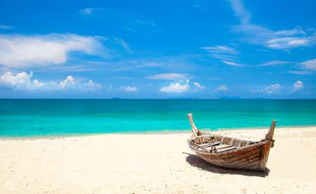 fishing boat on the beach, koh Lanta, Thailand Stock Photo