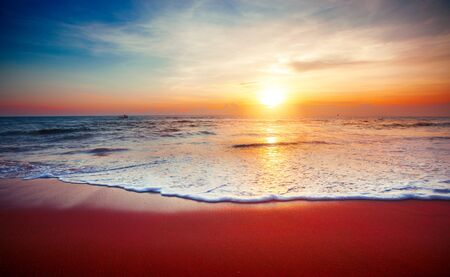 beautiful sunset and tropical sea