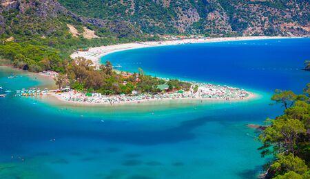 Aerial view of Oludeniz bay on the Mediterranean coast of Turkey