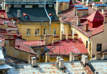 Aerial view of old roof Stock Photo