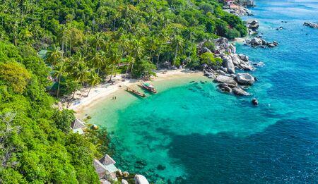 Aerial view Sai Nuan beach, koh Tao, Thailand 免版税图像