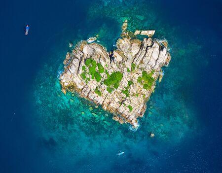 Aerial Shot Of A Rocky Island Heart