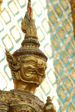 Huge demon standing in front of a buddhist temple, Bangkok, Thailand  Stock Photo