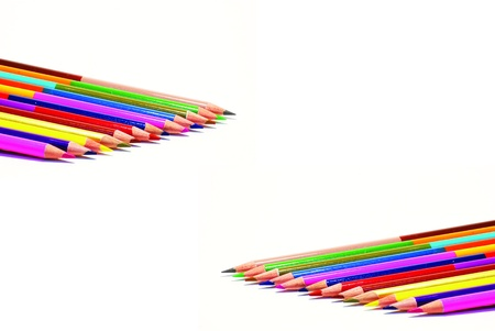 Colour pencils isolated on white background close up Stock Photo - 9059854