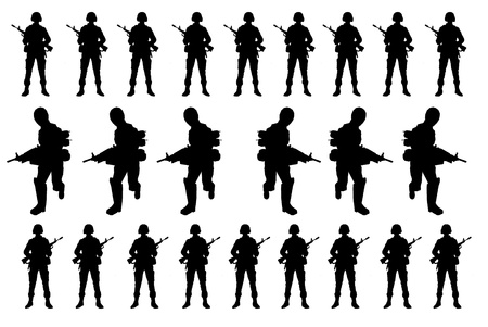 Soldiers silhouettes on the white back ground photo