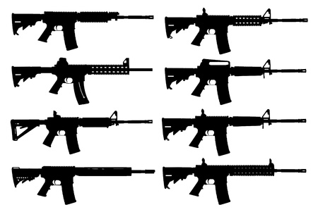 machine gun: Vector set of guns silhouette