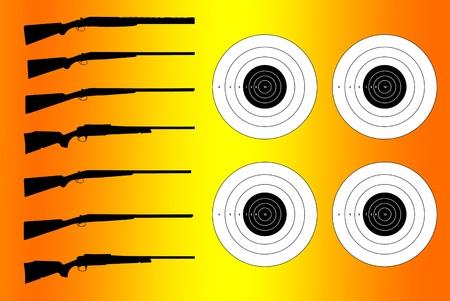 kalashnikov: Vector silhouettes of various weapons
