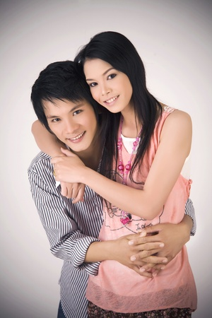 Studio shot of the asian wedding couple  photo