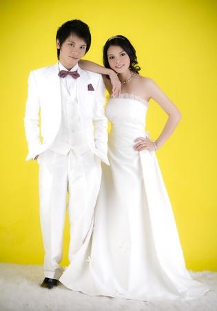 Studio shot of the asian wedding couple