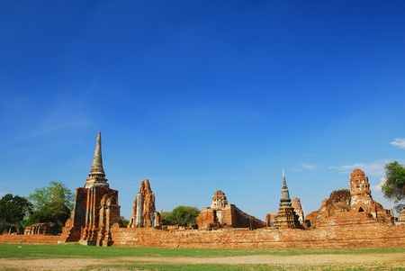 The Ancient Buddhist temple in Ayutthaya Thailand