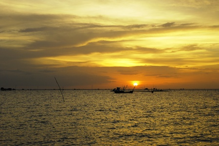 the fisherman's Boats at Sunset on the sea Stock Photo - 9535669