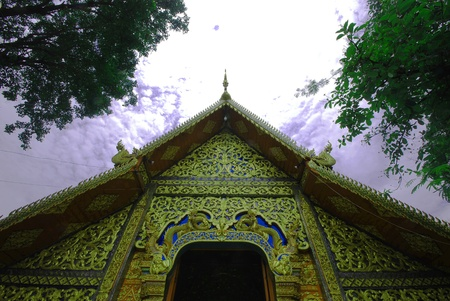 Thai art detail on top of temple door Stock Photo - 9635169