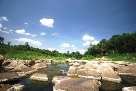 Landscape with calm river with stones vivid green forest banks and bright blue sky Stock Photo - 9808912