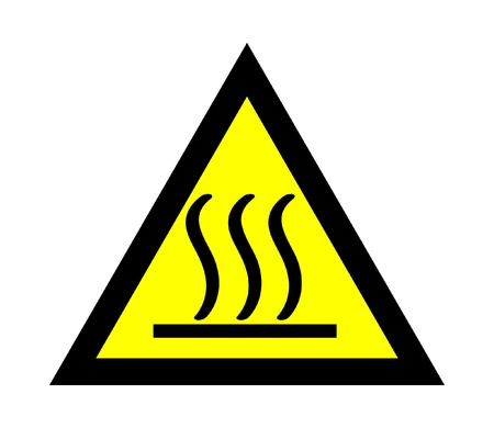 temp: The hot careful triangle sign yellow and black Illustration