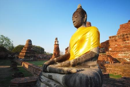Monuments of buddah ruins of Ayutthaya old capital of THAILAND photo