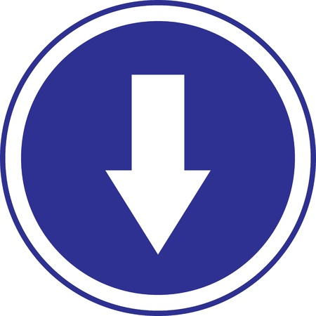 The arrow in circle blue sign on white.