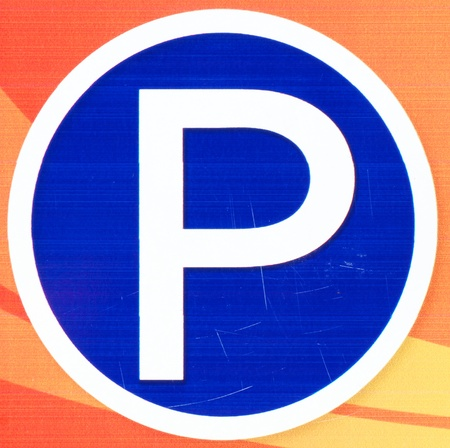 roadsign: Parking place spot sign on post pole traffic road roadsign Stock Photo