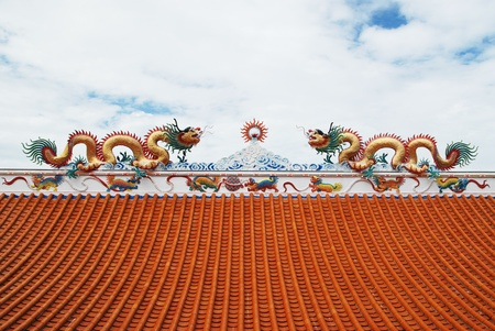 The Dragon status on roof of joss house  photo