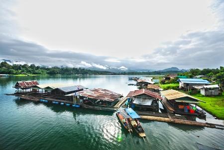 HDR The Raft on the river in Sangkhlaburi Thailand on 24 September 2011. Stock Photo - 10794518
