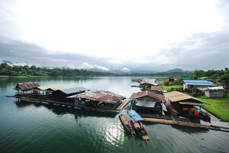 The Raft on the river in Sangkhlaburi Thailand on 24 September 2011. photo