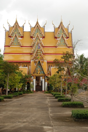 The Thai church in temple in Sangkhlaburi Thailand  Stock Photo